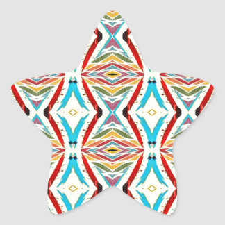 Multicolored Abstract Chains Geometric Pattern Star Sticker