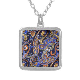 Multicolored Abstract Design Square Pendant Necklace
