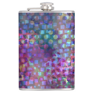 Multicolored Abstract Digital Art Hip Flask