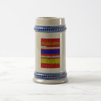 Multicolored abstract Fabric pattern Beer Steins