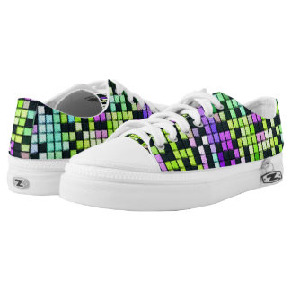 Multicolored abstract fabric square pattern low tops
