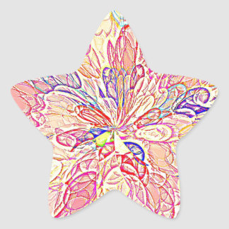 Multicolored Abstract Flower Design Star Stickers