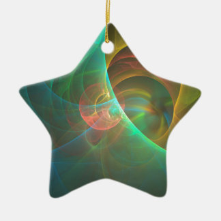 Multicolored abstract fractal ceramic ornament