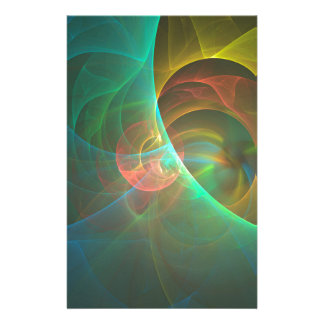 Multicolored abstract fractal stationery