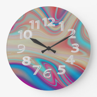 Multicolored abstract large clock