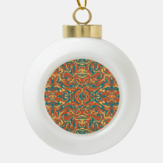 Multicolored Abstract Ornate Pattern Ceramic Ball Christmas Ornament