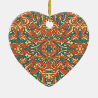 Multicolored Abstract Ornate Pattern Ceramic Ornament