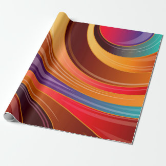 Multicolored abstract waves wrapping paper