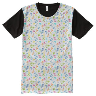 Multicolored Assorted Leaves Sml Pattern All-Over Print T-Shirt