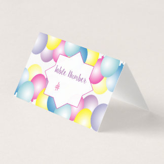 Multicolored balloon Birthday party themed Place Card