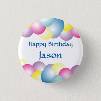 Multicolored balloons birthday party 3 cm round badge