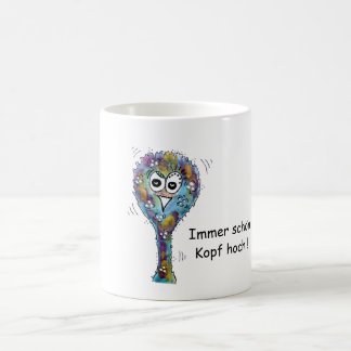 Multicolored bird bunch with saying coffee mug