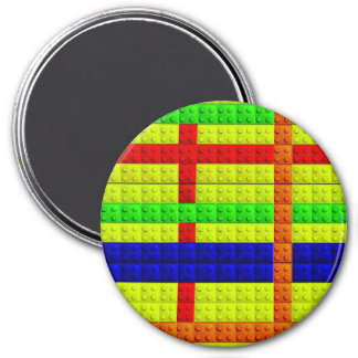 Multicolored blocks pattern 7.5 cm round magnet