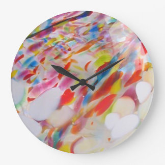 Multicolored blown glass large clock