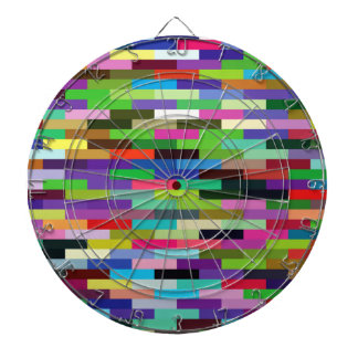 multicolored bricks dartboard