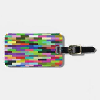 multicolored bricks luggage tag