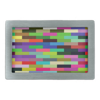 multicolored bricks rectangular belt buckle