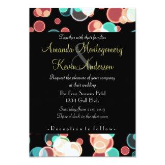 Multicolored Bubbles on a Black Background Wedding 13 Cm X 18 Cm Invitation Card