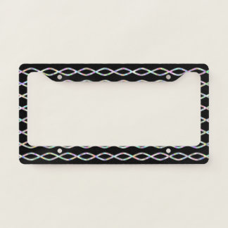 Multicolored Chain-Like Pattern (Black Background) Licence Plate Frame