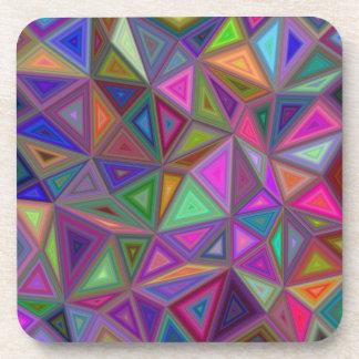 Multicolored chaotic triangles beverage coaster