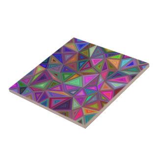 Multicolored chaotic triangles ceramic tile