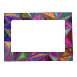 Multicolored chaotic triangles picture frame magnets