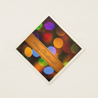 Multicolored Christmas lights. Add text or name. Disposable Serviettes