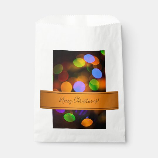 Multicolored Christmas lights. Add text or name. Favour Bag