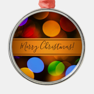 Multicolored Christmas lights. Add text or name. Metal Ornament