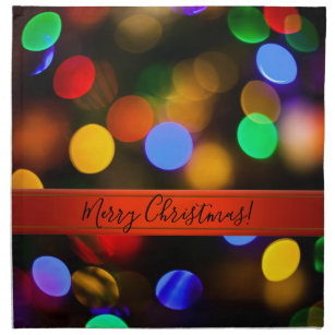 Multicolored Christmas lights. Add text or name. Napkin