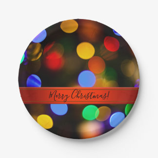 Multicolored Christmas lights. Add text or name. Paper Plate