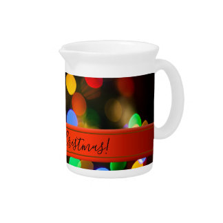 Multicolored Christmas lights. Add text or name. Pitcher