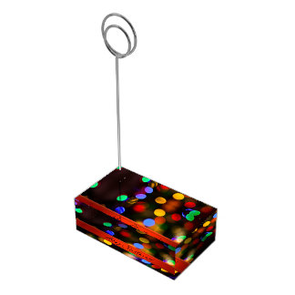 Multicolored Christmas lights. Add text or name. Place Card Holder