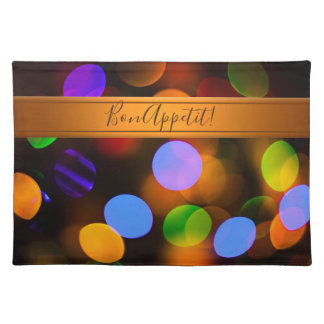 Multicolored Christmas lights. Add text or name. Placemat