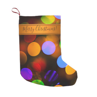Multicolored Christmas lights. Add text or name. Small Christmas Stocking