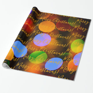 Multicolored Christmas lights. Add text or name. Wrapping Paper