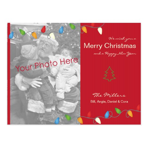 Multicolored Christmas Lights Holiday Photo Card Post Card