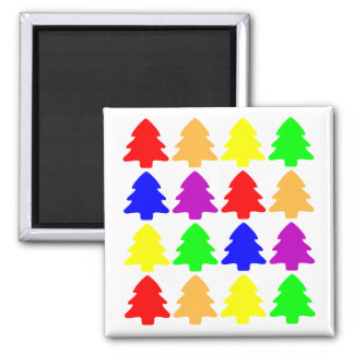 Multicolored Christmas Trees Square Square Magnet