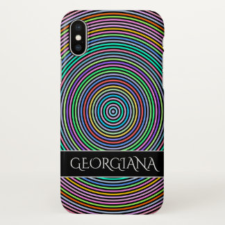 Multicolored Circles/Rings Pattern + Custom Name iPhone X Case