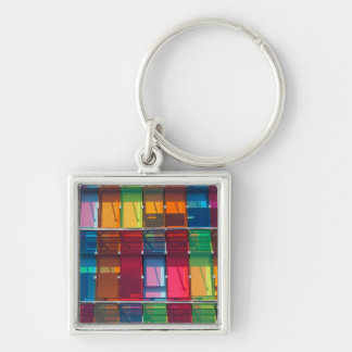 Multicolored commercial building detail Silver-Colored square key ring