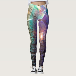 Multicolored concrete and prism pattern leggings