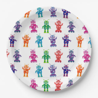 Multicolored Crazy Robot Kids Birthday Party 9 Inch Paper Plate