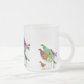 Multicolored cup with abstract motive for bird