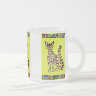 Multicolored cup with abstract motive for cat
