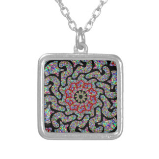 Multicolored design with black and red accents silver plated necklace
