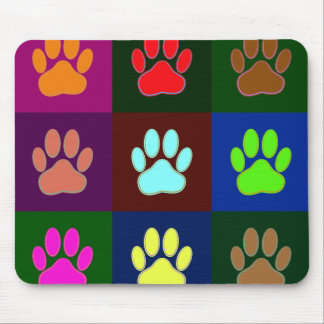 Multicolored Dog Paw Print Pattern Mouse Pad