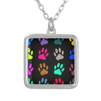Multicolored Dog Paw Print Pattern Silver Plated Necklace