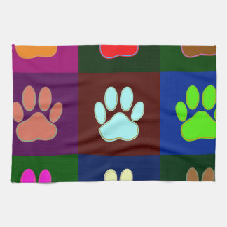 Multicolored Dog Paw Print Pattern Tea Towel