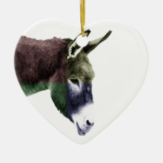 Multicolored Donkey Western Two-sided Ceramic Ornament