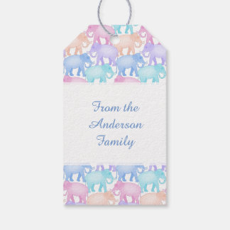 Multicolored Elephants Baby Shower Child Birthday Gift Tags